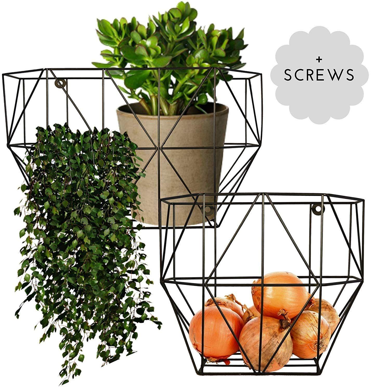 Scandinavian Hub Wire Basket Wall Mount Farmhouse Fruit Basket Set Of 2 For Using As Hanging Fruit Baskets On Wall Hanging Fruit Baskets Wire Basket Decor