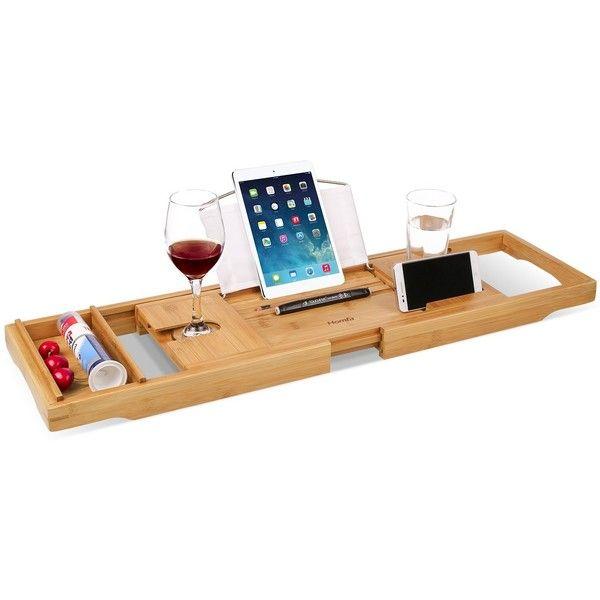HOMFA Bamboo Bathtub Tray Bath Table Adjustable Caddy Tray with ...