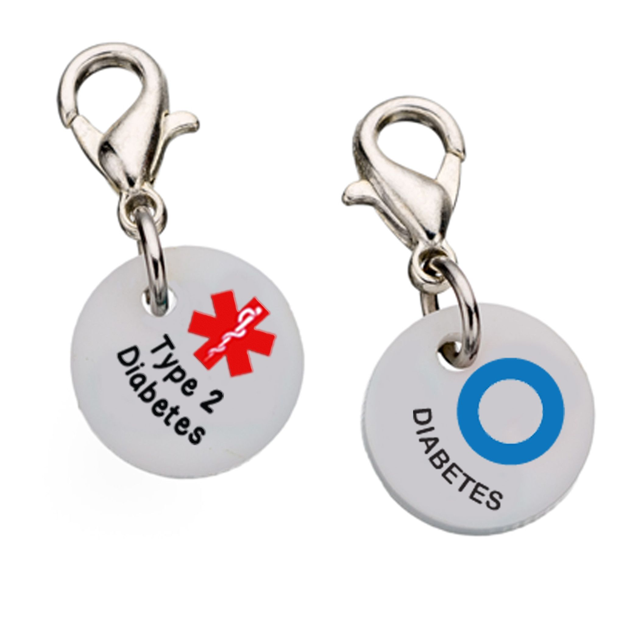 Diabetes Type 2 with Blue Circle Charm - Medium Partial Proceeds Benefit Diabetes Alert Dog Alliance