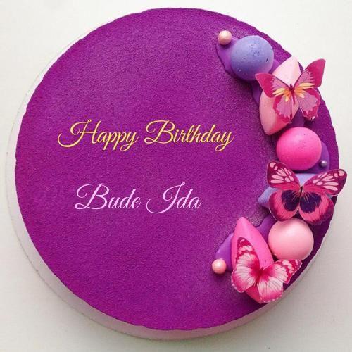 Purple Birthday Cake With Name Editing Option