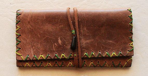 Handmade leather tobacco case obsidian teardrop by AnastasiaAndre, €10.00