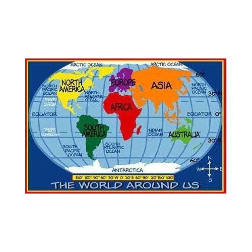 Supreme Kids World Map Classroom Kids Rug