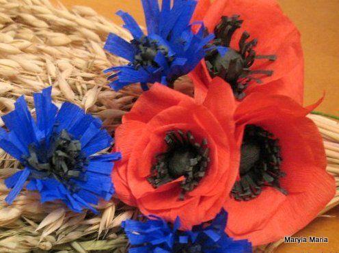Moje Rekodzielo Polne Kwiaty Z Bibuly My Craft Wildflowers Of Paper 4th Of July Wreath Handicraft 4th Of July