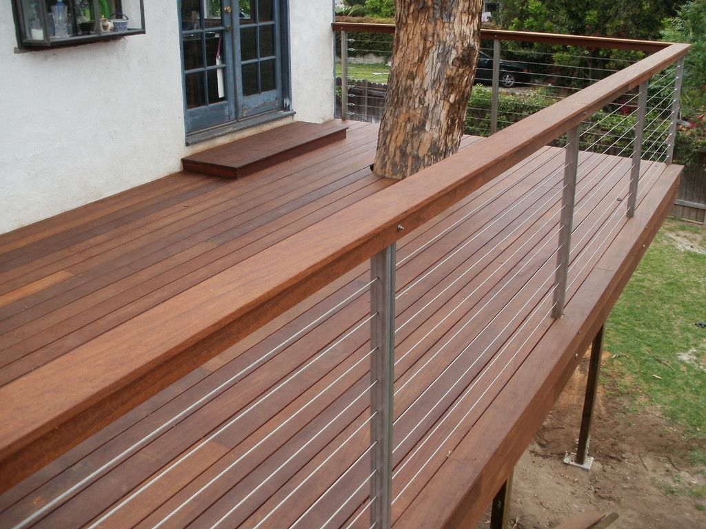 Cable Railing With Stainless Steel Posts amp Ipe Rail Cap
