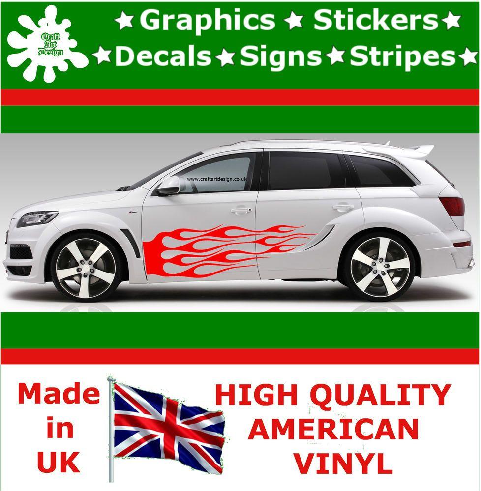 Car sticker design fire - 2 X Flame Car Sticker Fire Large Drift Tuning Vinyl Jdm Decal Art Racing 117
