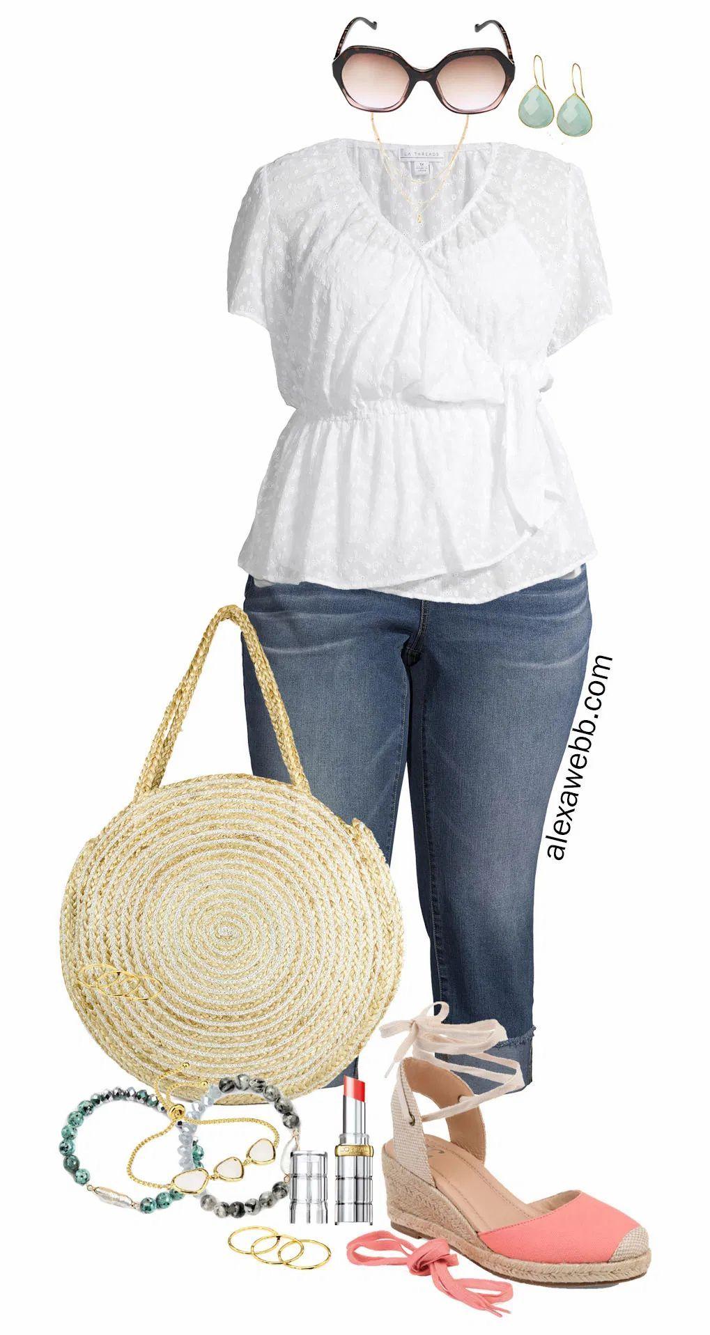 Photo of Plus Size White Eyelet Top Outfit with Walmart – Alexa Webb