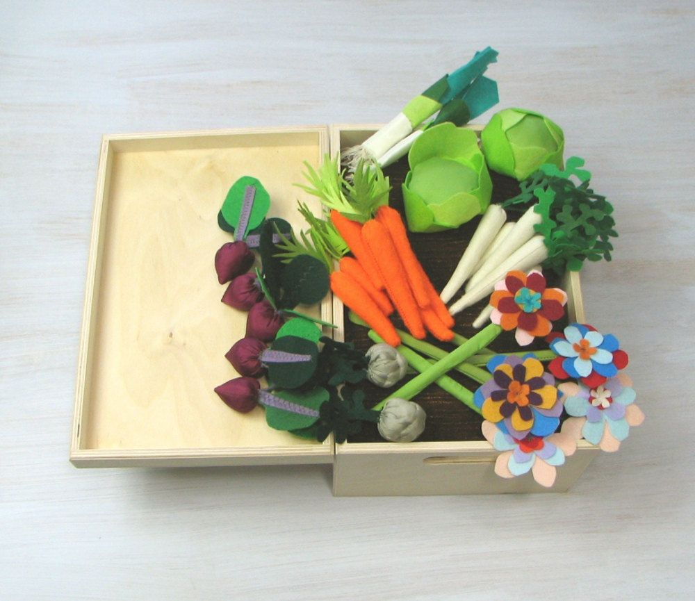 Felt Fabric Vegetable Garden Play Set, Toy MiniGarden, Pretend Veggies Big Set, For Kids, Vegetable Patch Little Gardener Little Housekeeper  This big set of vegetables (7 carrots, 6 parsnips, 2 leeks, 2 celeriacs, 5 beets, 2 heads of lettuce) and 5 flowers made of felt and fabric, together with a vegetable patch will please both girls and boys! They will drill, care of seedlings and then have a good crop and use it in the kitchen. This vegetable patch is in playwood box.  Vegetables and…
