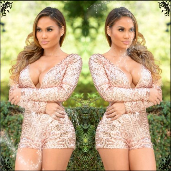 ✨Sexy Sequin Blush Romper✨ SO GORGEOUS!!! ❤️❤️❤ugh it looks too small for me:(                                                       Long Sleeve Romper in Blush  Sequins Deep V Neckline Open Back 100% Polyester Other