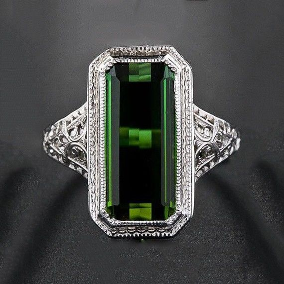 Huge Emerald 925 Silver Women Jewelry Wedding Engagement Ring Party Size 6-10