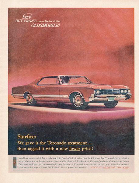 1966 Oldsmobile Starfire Toronado Car Ad Red Classic Car Illustration Vintage Advertisement Art Print