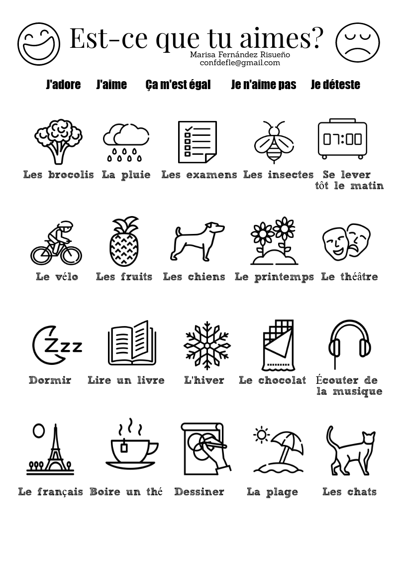Te Gusta Ejercicio Para Colorear Y Practicar Los Gustos Est Ce Que Tu Aimes Exercice Pour C French Language Lessons French Flashcards French Learning Books