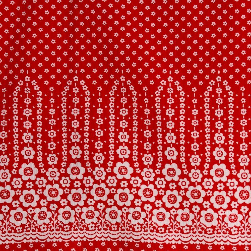 92459da4b7 Vintage 1960s Maxi Skirt Fabric Red Flower Power Border Daisies Textured  Daisy #Unbranded
