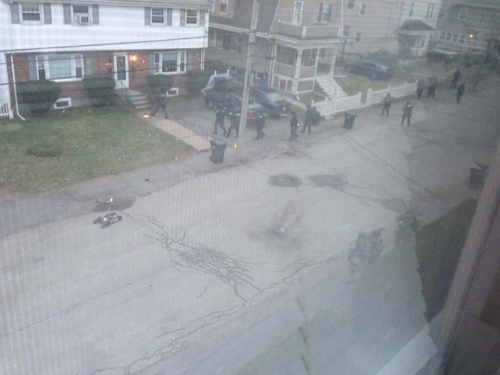 @Andrea Kitzmiller: Swat is out on laurel st. #mitshooting #boston #mit 12:02 PM - 19 Apr 2012