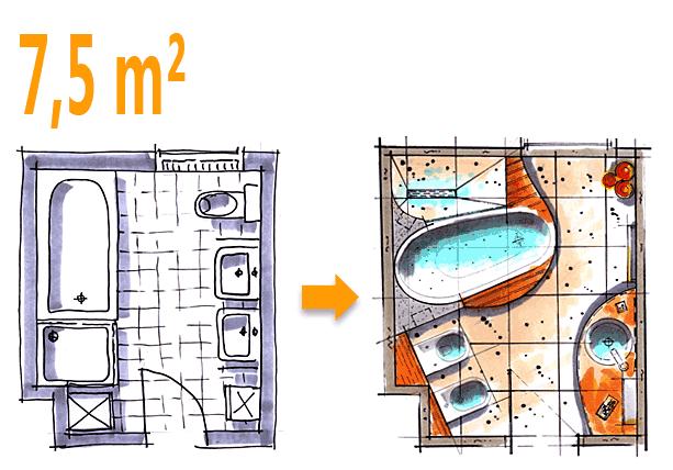 Badplanung Beispiel 7,5 qm Badoase auf kleinem Raum ...