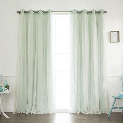August Grove Braswell Blackout Thermal Curtain Panels Color Mint Size 108 L X 52 W
