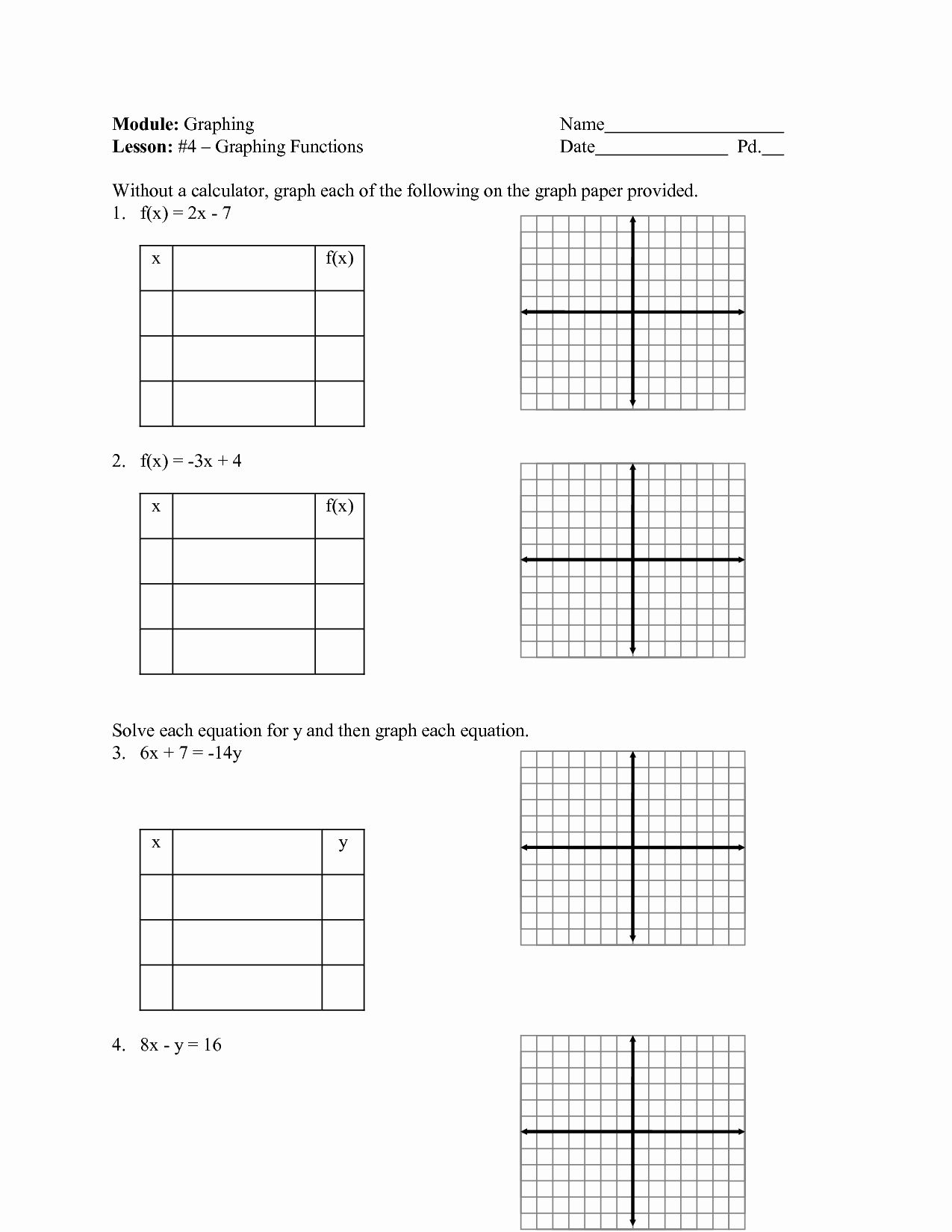 Graphing Linear Equations Practice Worksheet New 10 Best
