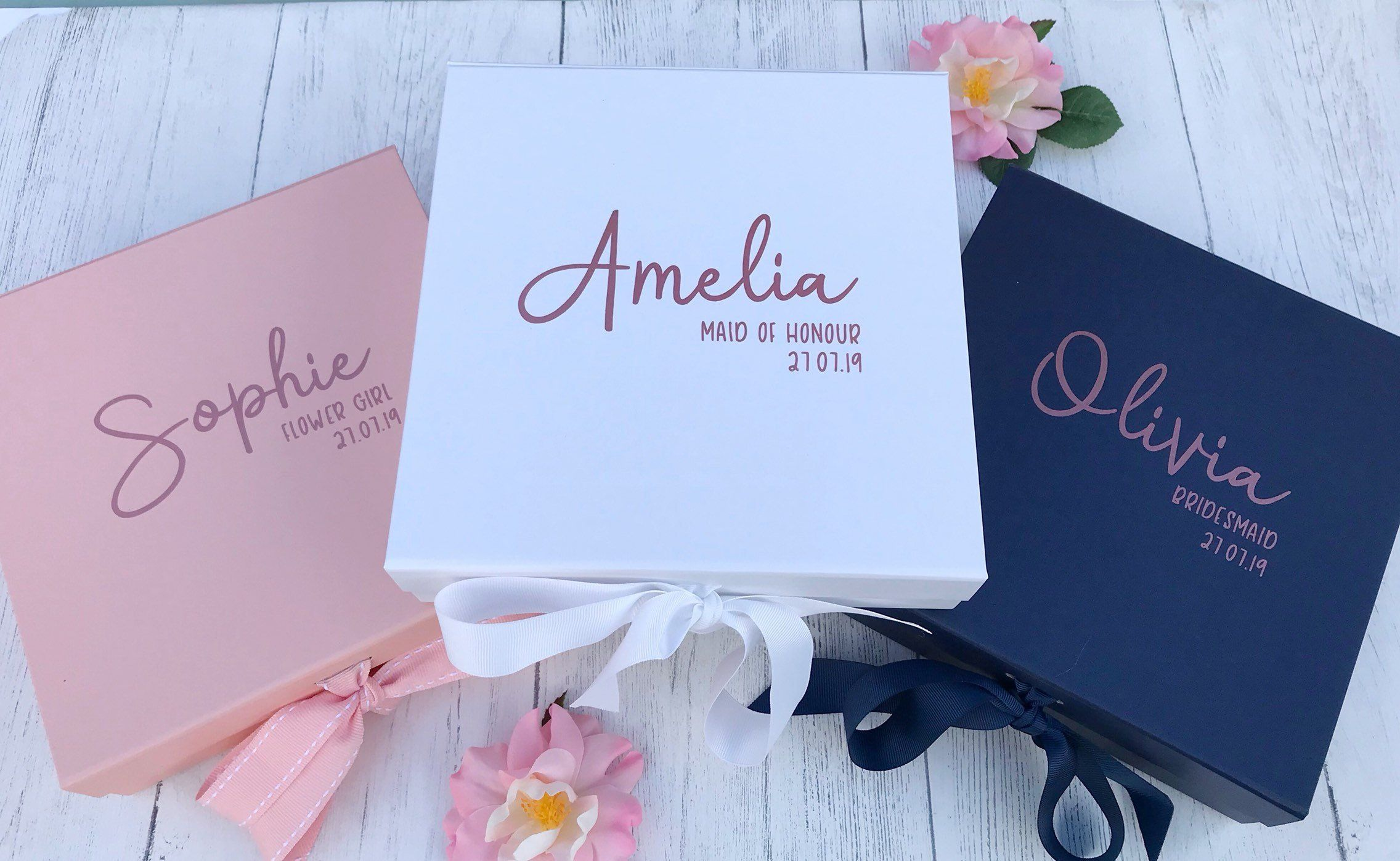 Personalised Bridesmaid Gift Box In Navy Blush Pink Or White With