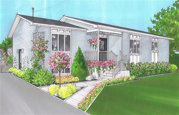 Curb appeal ideas for mobile homes porch designs for mobile homes mobile home porches porch Landscape design ideas mobile home