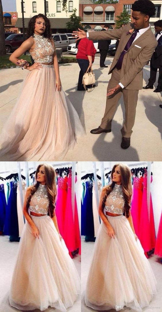 2a0573d242b3 2017 New Style Prom Dresses Sexy 2 Piece silver beaded bodice High Neck  Tulle Skirts Champagne Prom Dress for spring teens sold by meetdresse.