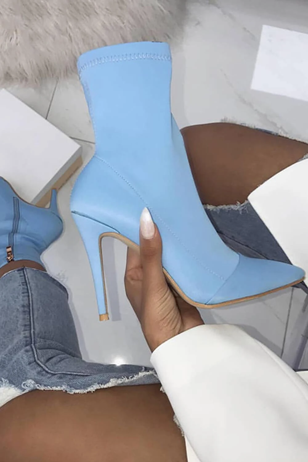 Pointed Toe Stiletto Sock Boots | Heels