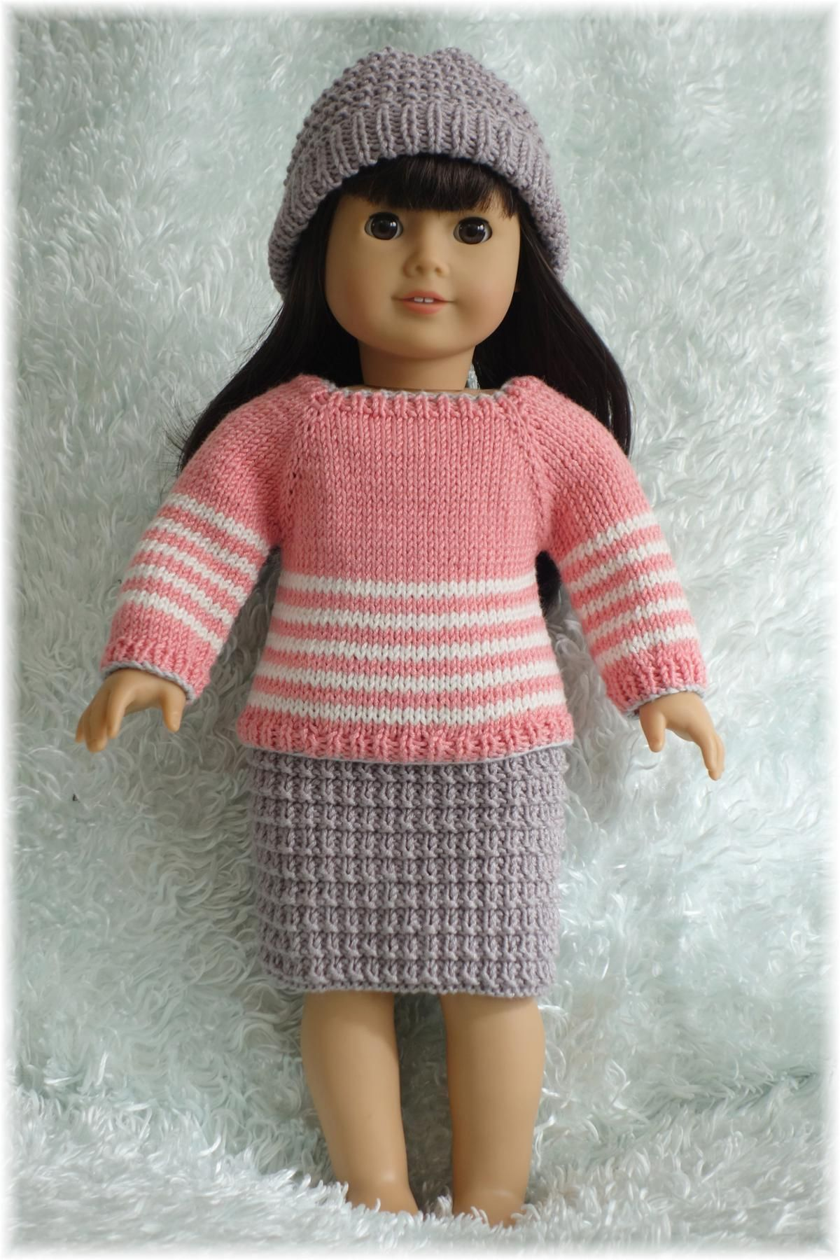 American Girl - Winter Sweater, Skirt and Hat by designer Purl Knit Designs