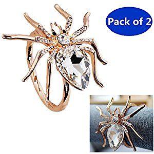 Amazon Com Spider Jeweled Design Metal Napkin Ring Holders Home Kitchen Metal Napkin Rings Napkin Rings Napkins