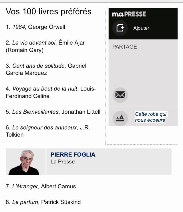 Liste Des 100 Livres Preferes Du Journaliste Pierre Foglia Big Book Lecture Books