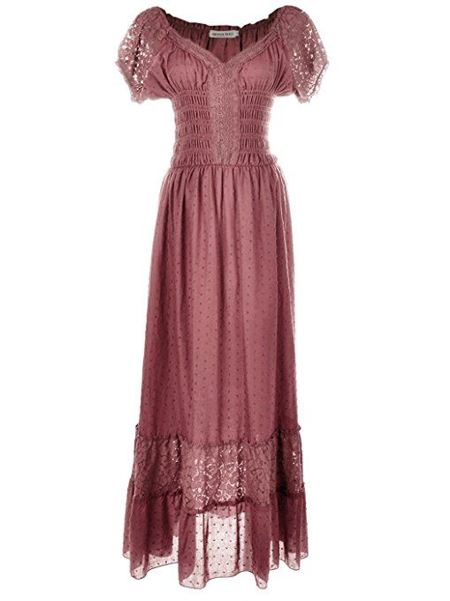 51da2c00c6d8 Anna-Kaci Renaissance Peasant Maiden Boho Inspired Cap Sleeve Lace Trim  Dress at Amazon Women s Clothing store