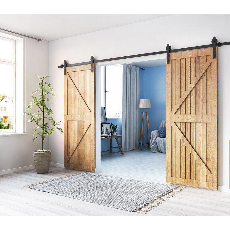 Shape Sliding Standard Double Barn Door Hardware Kit In 2020 Double Sliding Barn Doors Double Barn Doors Barn Door
