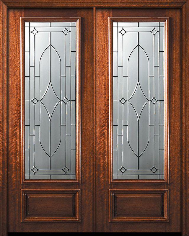 42 X 96 Double 3 4 Lite Bourbon Street Mahogany Door Exterior Doors With Glass Exterior Doors Double Doors Exterior