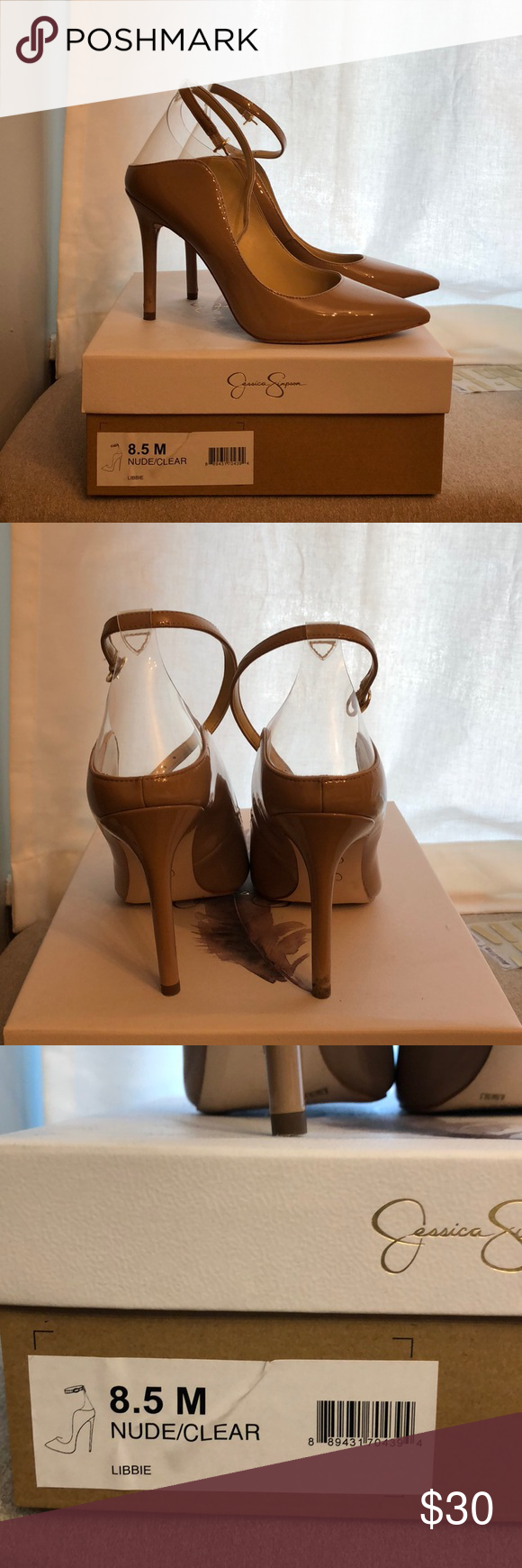 82b27235ee0 Jessica Simpson Libbie Heels Nude patent with clear from heel to ankle  strap. Worn one time. I typically wear a 7.5-8 and these fit me perfect.