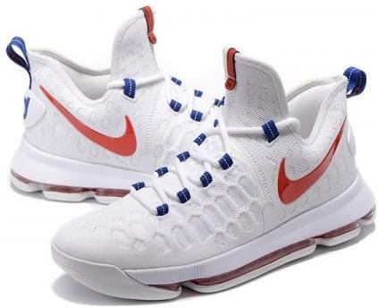 reputable site a1005 9f124 Nike Zoom KD9 Mens Basketball Shoes - White Blue Red3