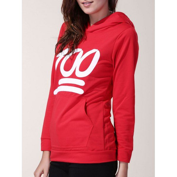 Stylish Long Sleeve Hooded Number 100 Print Women's Hoodie #men, #hats, #watches, #belts, #fashion, #style