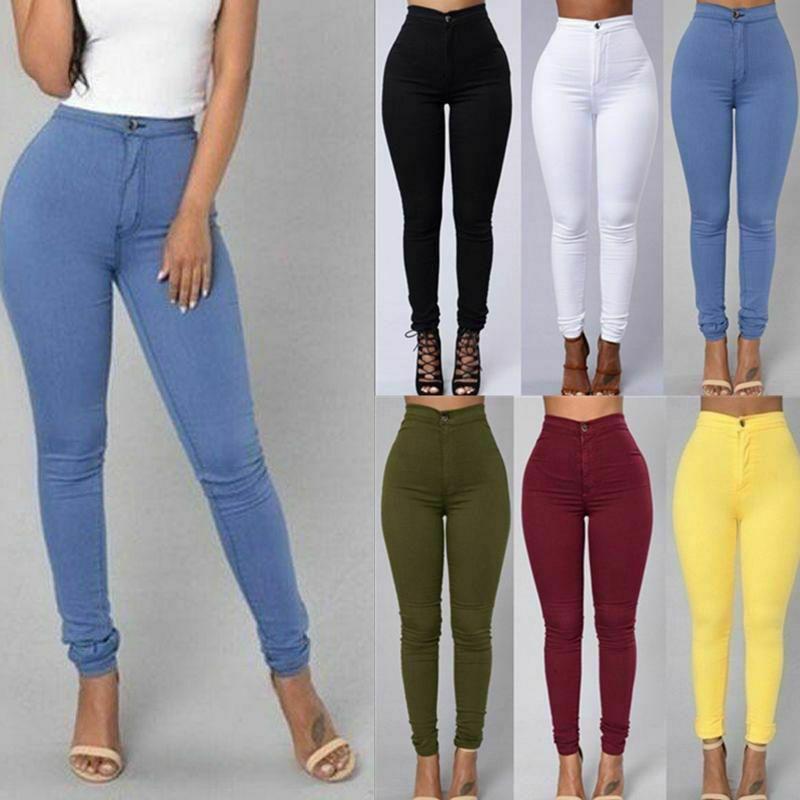 New Ladies Plain Skinny Slim Fit Stretchy Zip Up Denim Jeggings Trousers Pants