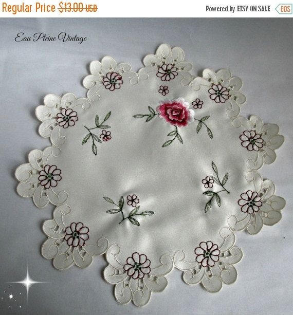 Ivory Table Doily Pink Rose Embroidery by EauPleineVintage on Etsy