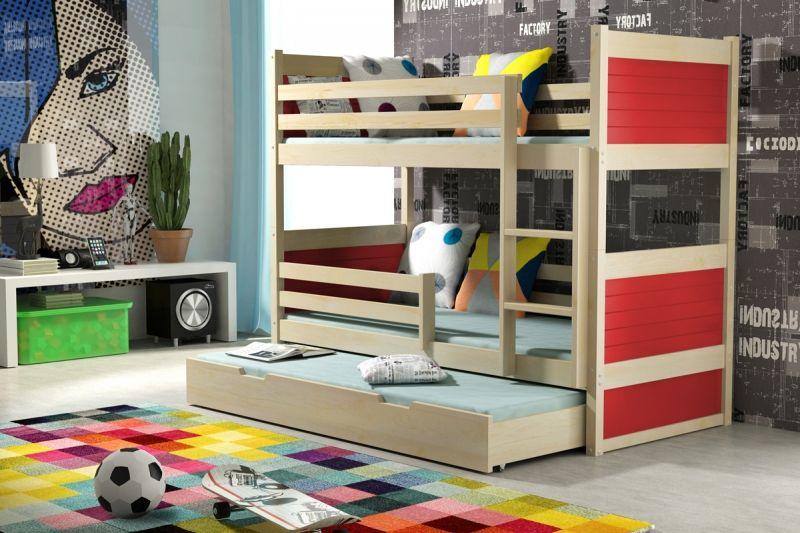kinder etagenbett mit 3 matratzen rot rote kinderbetten. Black Bedroom Furniture Sets. Home Design Ideas