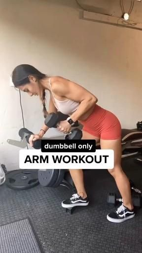 Arm workout with dumbbell