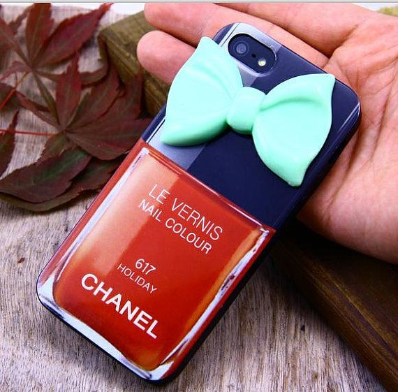Iphone 5 case cover,Chanel iphone5 case ,Blue Bowknot iphone5,Nail ...