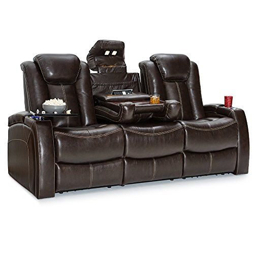 Seatcraft Republic Leather Home Theater Seating Recline Row Of 3 Sofa W