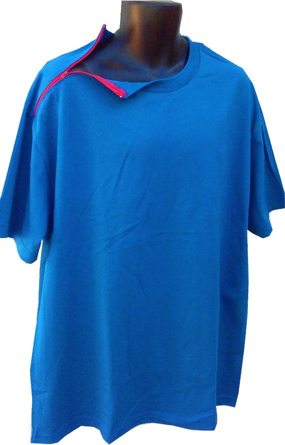 fb52bfe0 T-SHIRT, S/ S, TREATMENT, adaptive clothing / Dialysis clothing / chemo  clothing / port opening shirt / cancer, perineal, treatment