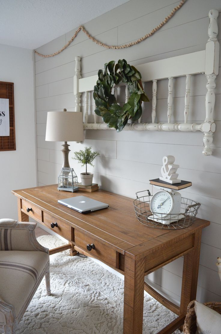 neutral office decor. Farmhouse Office Makeover. Neutral Decor. Home Office. Shiplap. Wood Desk Decor T