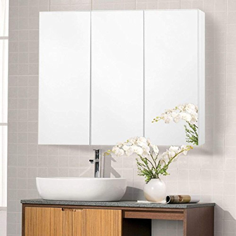 Tangkula 36 Wide Wall Mount Mirrored Bathroom Medicine Cabinet Storage 3 Mirror Door Read Bathroom Mirror Cabinet Medicine Cabinet Mirror Mirror Cabinets