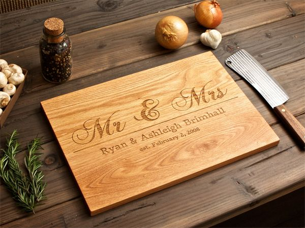 Wedding gift idea engraved wooden chopping board my for Diy personalized wood cutting board