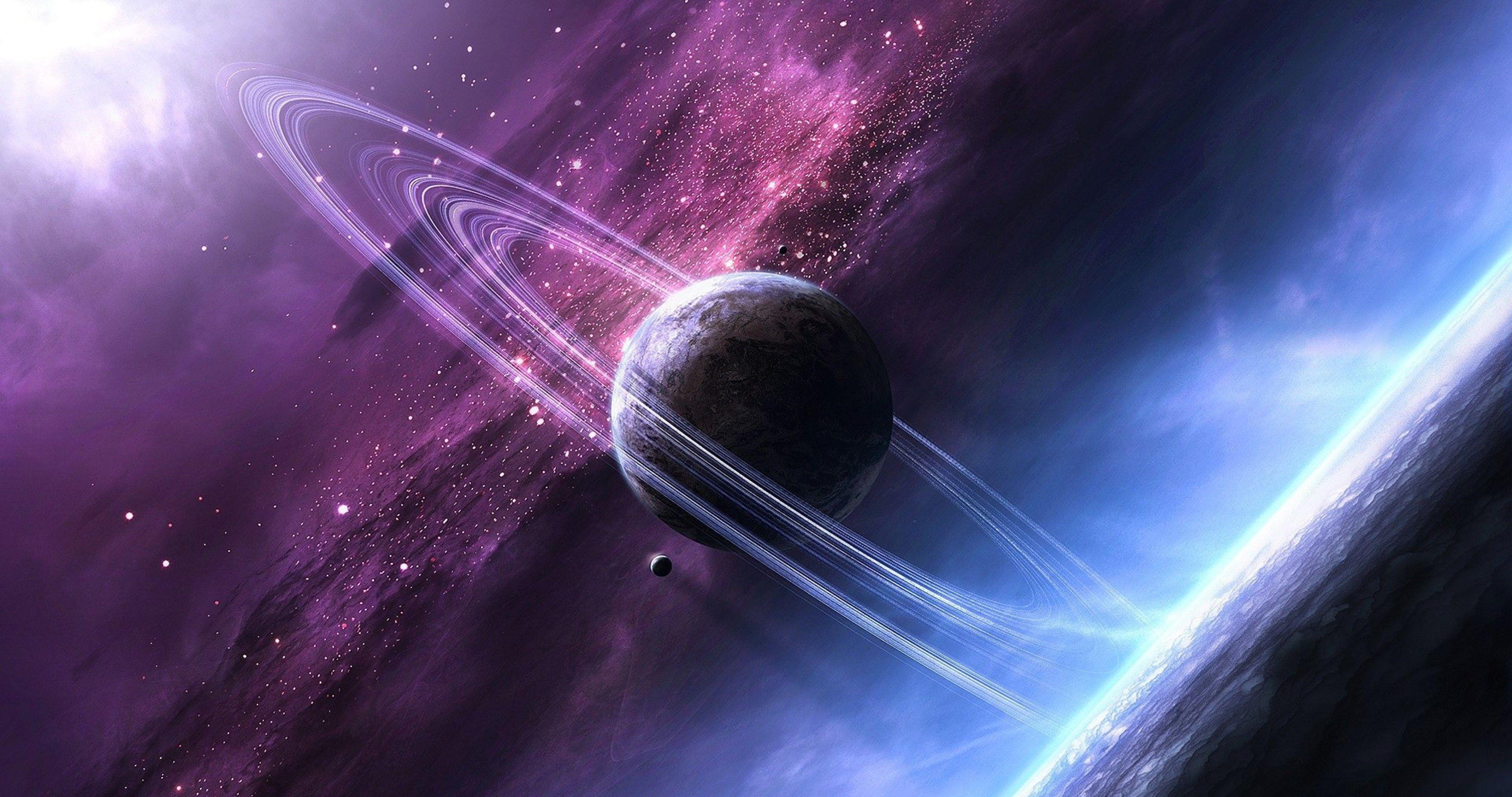 space planet rings 4k ultra hd wallpaper