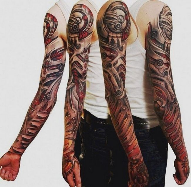 biomechanik tattoo ganzer arm rote akzente tatoo pinterest biomechanik tattoo rote. Black Bedroom Furniture Sets. Home Design Ideas
