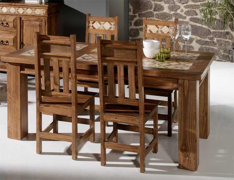 Mesa de comedor rustica con incrustaciones de m rmol http for Mesas de marmol para comedor