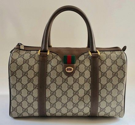 77130d4b9482 Save 83% on the Gucci Vintage Brown Gg Pvc Canvas   Leather Satchel! This  satchel is a top 10 member favorite on Tradesy.
