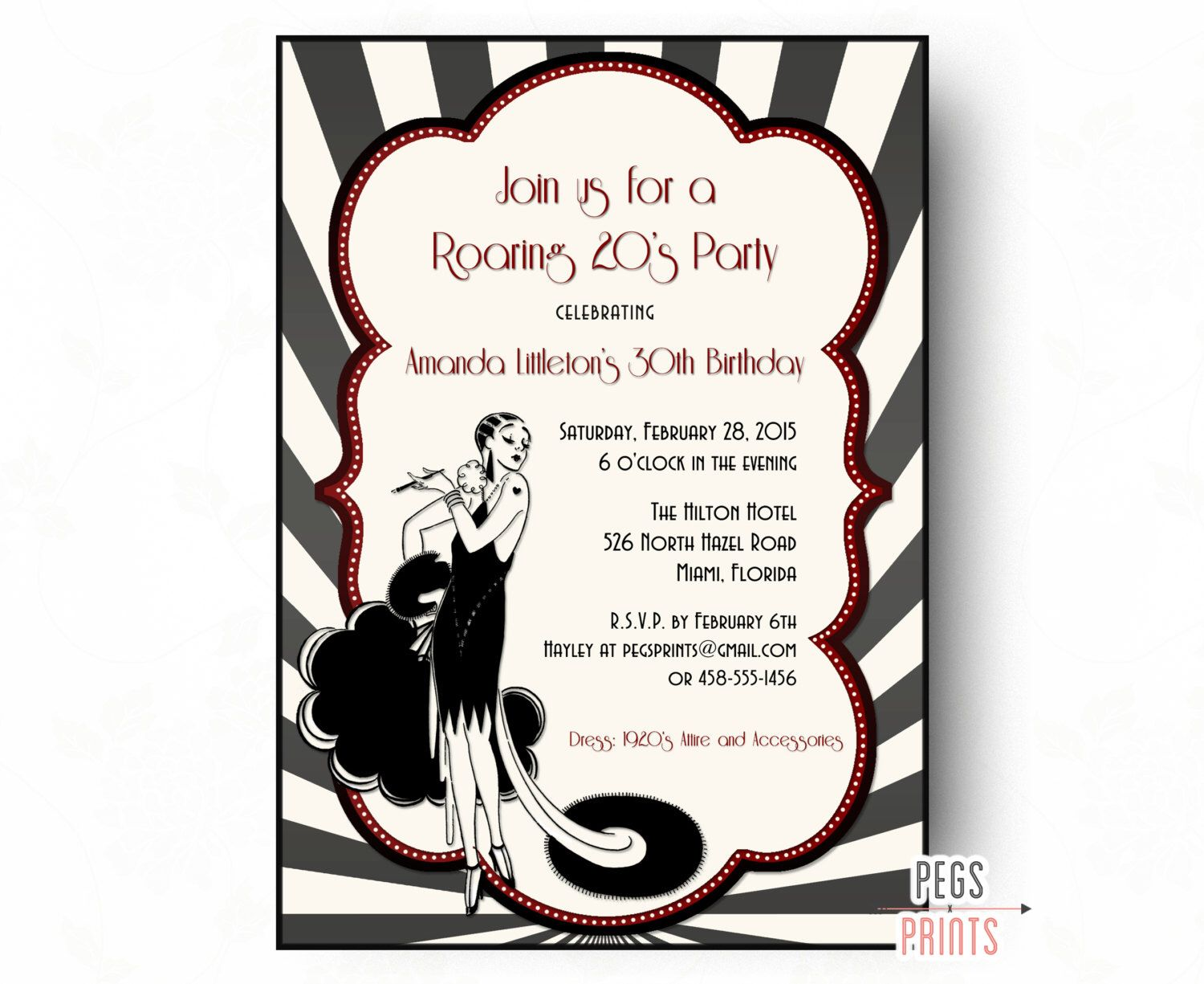 Roaring 20s Invitation - 1920\'s Invitations (Printable) Roaring 20s ...