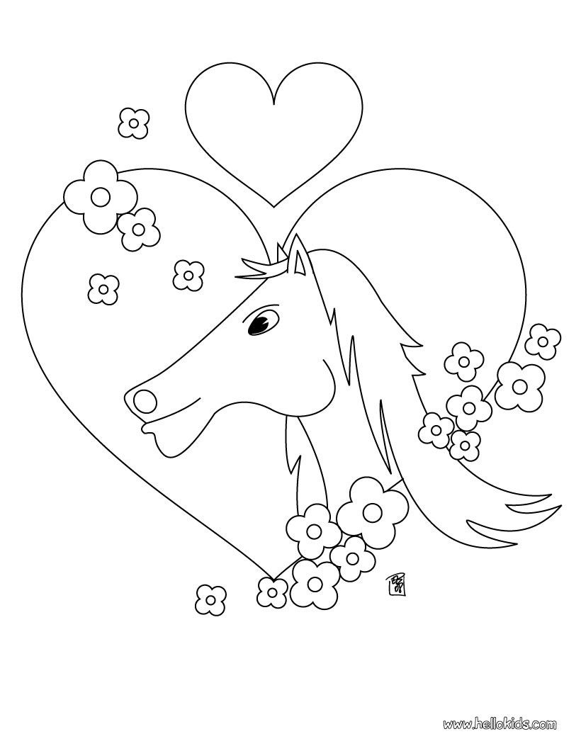 Horse In Love Coloring Page Cute And Amazing Farm Animals For Kids