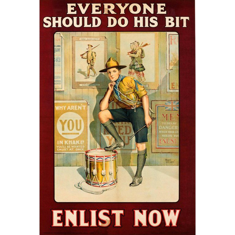 Original British Wwi Recruitment Poster Everyone Should Do His Bit Enlist Now Recruitment Poster Vintage Posters Poster Creator